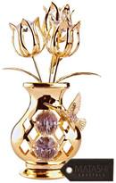 clear Matashi 24K Gold Plated Crystal Studded Flower w/ Hummingbird Ornament,