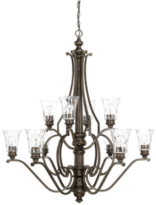 clear Sinclaire 10-Light 2-Tier Chandelier Renaissance Brown Watered G