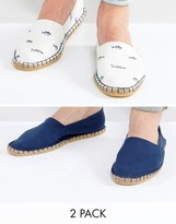Asos Espadrilles In Navy And White Fish Print 2 Pack Save