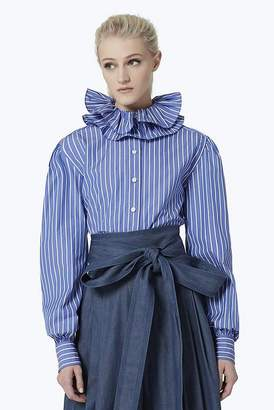 Marc Jacobs High Collar Striped Cotton Blouse
