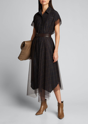 Brunello Cucinelli Monili-Beaded Windowpane Tulle Shirtdress
