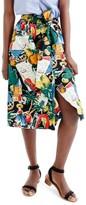 J.Crew Women's Postcard Print Button-Up A-Line Skirt