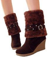 Susanny Wedges Short Boots Women's Buckle High Heel Warm Fur Fold-over Winter Knee High Snow Boots 8 B (M) US