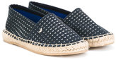 Armani Junior logo pattern espadrilles - kids - Leather/Canvas/rubber - 32