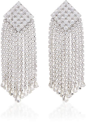 Alessandra Rich Crystal And Brass Square Fringe Clip Earrings