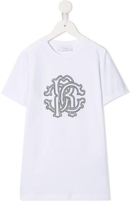 Roberto Cavalli Junior sequin studded logo T-shirt