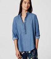 LOFT Chambray Ruffle Henley Shirt
