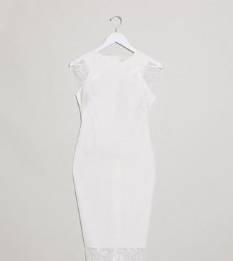 Blume Maternity bodycon lace detail midi dress in white