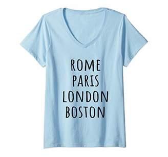Womens Rome Paris London Boston - World Cities Travel Design V-Neck T-Shirt