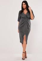 Missguided Plus Size Silver Glitter Twist Front Midi Dress