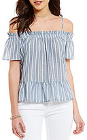 Jolt Off-The-Shoulder Striped Ruffle Hem Top