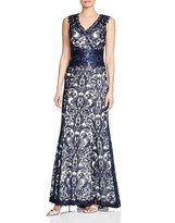 Tadashi Shoji V-Neck Sequined Corded Lace Gown