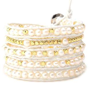 Victoria Emerson Gold Droplet Pearl Wrap on Ivory