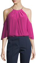 Trina Turk Halter Cold-Shoulder Silk Top w/ Hardware