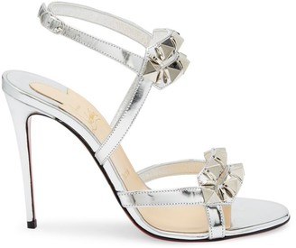 Christian Louboutin Galerietta Studded Metallic Leather Sandals