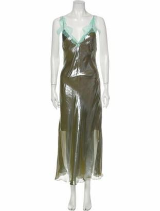 Maria Lucia Hohan V-Neck Long Dress Green