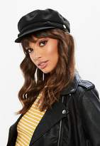 Missguided Black Faux Suede Gold Detail Baker Boy Hat