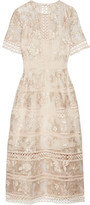 Zimmermann Lace-trimmed Embroidered Silk-organza Midi Dress - Off-white