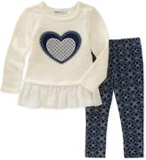Kids Headquarters Cream Heart Tunic & Blue Leggings - Infant, Toddler & Girls