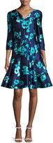 Oscar de la Renta Floral 3/4-Sleeve Split-Neck Dress, Navy