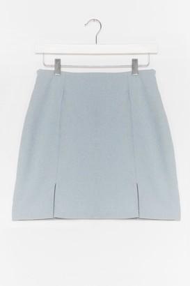 Nasty Gal Womens What's Slit Gonna Be High-Waisted Mini Skirt - Blue