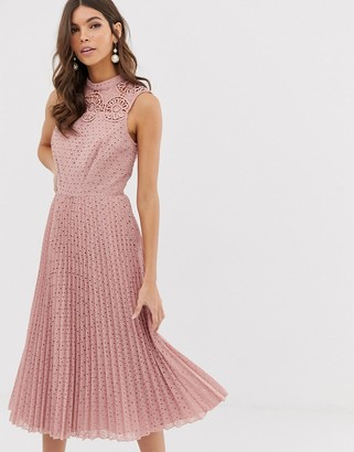 Asos Design DESIGN high neck sleeveless pleated broderie midi dress with lace detail-Pink
