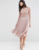 Asos WEDDING Pretty Lace Eyelash Pleated Midi Dress