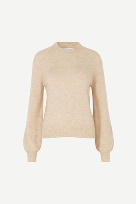 Samsoe & Samsoe Winter Wheat Melange Jaci Crew Neck Sweater - M | wheat - Wheat