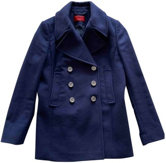 HUGO BOSS Navy Wool Coat for Women