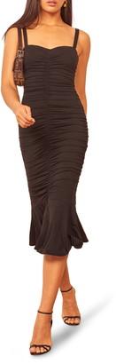 Reformation Ruched Midi Dress