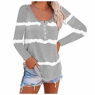 DIYAGO Women's Long Sleeve Tops UK Plus Size Round Neck Tie-Dye Striped Loose Fashion Casual Sweatshirts Hoodie Pullover Tee Shirt Blouses Gray
