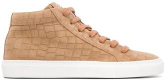 Hide&Jack Crocodile-Effect High-Top Sneakers