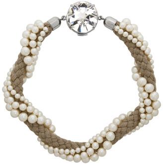 Miu Miu Off-White Braided Pearl Necklace