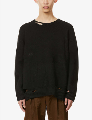 A-Cold-Wall* Ripped oversized wool-blend jumper