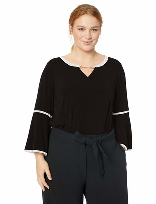 Calvin Klein Women's Plus Size Long Sleeve with PU Binding & Hardware
