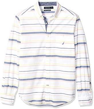 Nautica Men's Long Sleeve Horizontal Stripe Stretch Button Down Shirt