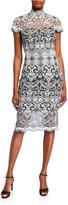 Tadashi Shoji Corded Lace Mock-Neck Cap-Sleeve Dress
