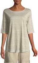 Eileen Fisher Half-Sleeve Striped Jersey Top