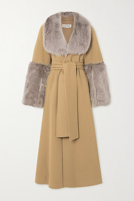 Loewe Belted Shearling-trimmed Wool And Cashmere-blend Coat - Camel