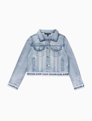 Calvin Klein Big Girls Logo Band Denim Jacket