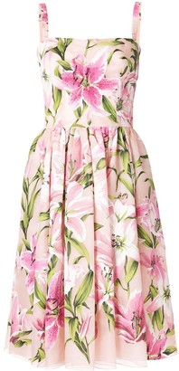Dolce & Gabbana Lily Print Flared Style Dress