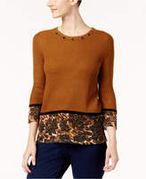Alfred Dunner Jungle Love Embellished Metallic Sweater