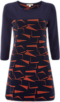 White Stuff Building Block Jersey Tunic Dress, Navy Print