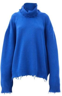Vetements Distressed Roll-neck Wool Sweater - Blue