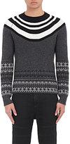 Neil Barrett Men's Fair Isle & Striped Chunky Wool Sweater-BLACK