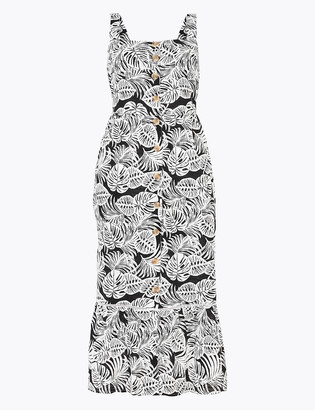 Marks and Spencer Pure Cotton Printed Midi Waisted Dress