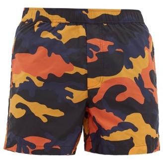 Valentino Camouflage-print Swim Shorts - Mens - Orange Multi