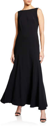 Karl Lagerfeld Paris Crepe Drape Back Gown with Contrast Lining