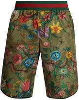 Gucci Floral Snake-print long-line swim shorts