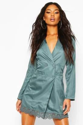 boohoo Lace Trim Button Down Blazer Dress